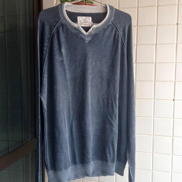 Blusa de algodão azul acinzentado
