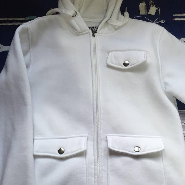 Blusa de moletom branca, tamanho p, usada 2 vezes,