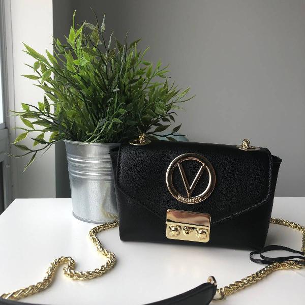 Bolsa de couro preto/dourado da valentino