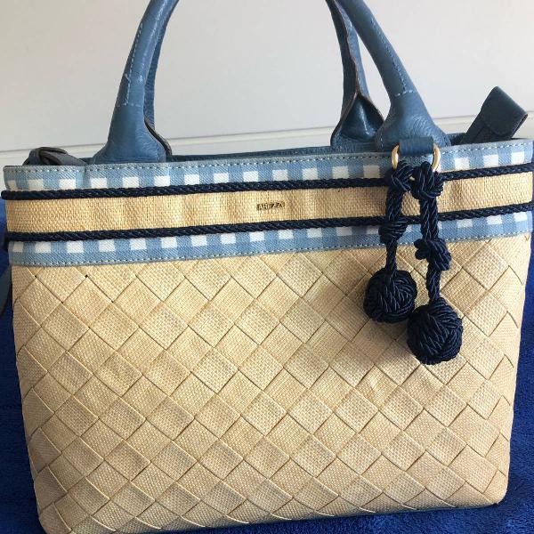 Bolsa de palha, couro legítimo e tecido arezzo