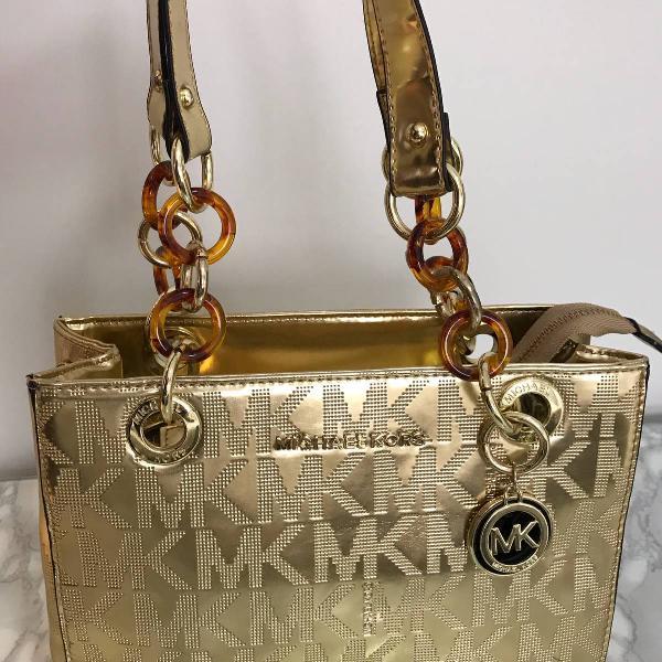 Bolsa dourada michael kors