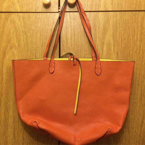 Bolsa dupla face laranja e amarela