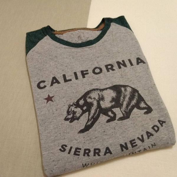 Camiseta masculina de manga longa urso