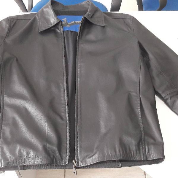 Jaqueta de couro preta original ellus