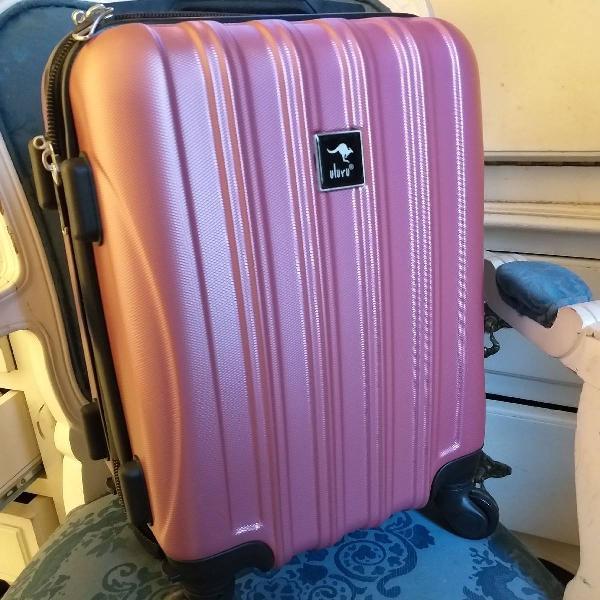 Mala de bordo rígida rosa importada