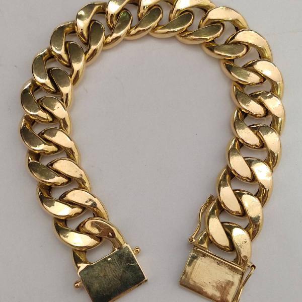 Pulseira de ouro 18 k pesa 40,6 gramas