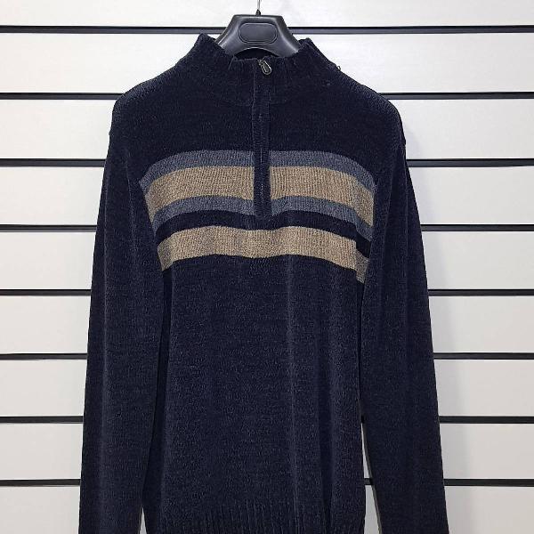 Suéter azul marinho, gola com zíper <3