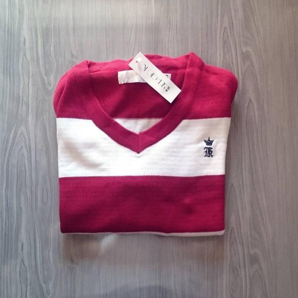 Suéter masculino branco vermelho sergio k