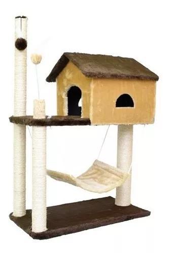 Arranhador casa p/ gatos gigante house com rede marrom