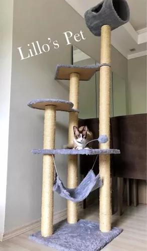 Arranhador gato castelo com rede gigante