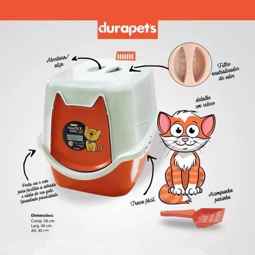 Banheiro gato toalete sanitário duracats 52x40x40 com pá