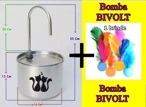 Bebedouro fonte gatos alumínio 2 litros bivolt + petecat