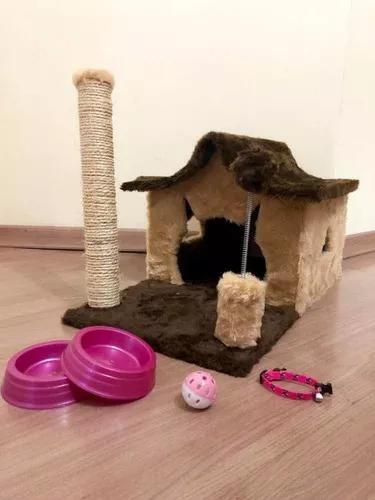 Brinquedo arranhador gato casa kit gato