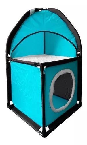 Cama casinha toca caixa tunel para gato pet 69 x 36 azul