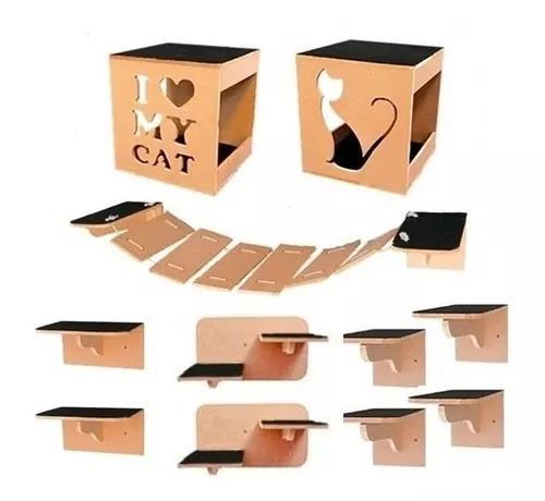 Circuito de parede para gatos completo nicho 11 pcs mdf