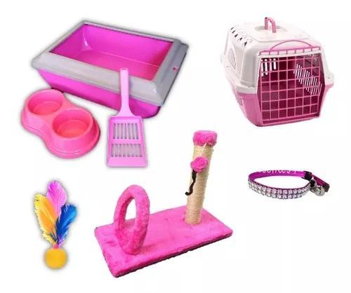 Kit gato transporte arranhador caixa areia c/ aba brinquedo