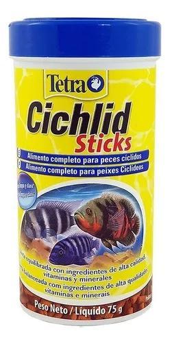 Ração tetra cichlid sticks 75g para peixe ciclídeo