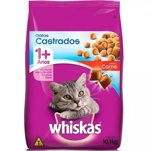 Ração whiskas carne 1+ anos para gatos castrados - 10,1 kg