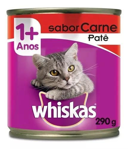 Ração whiskas lata patê de carne - 290 g