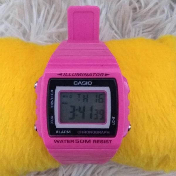 Relógio casio retrô vintage pink prova d'água