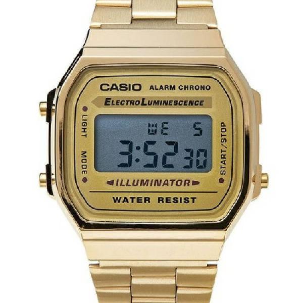 Relógio casio retrô dourado a168