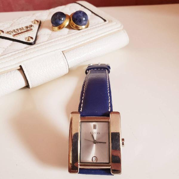 Relógio guess pulseira de couro (c048)
