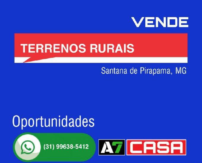 Vende terrenos rurais, região santana de pirapama, mg