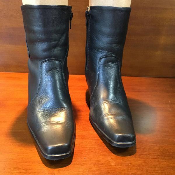 bota de couro legítimo importada preta 36