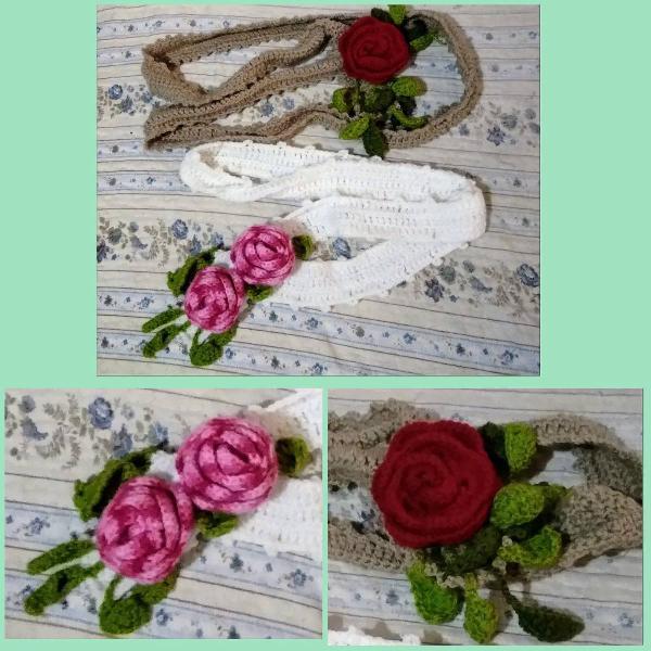 Cachecóis flores de crochê