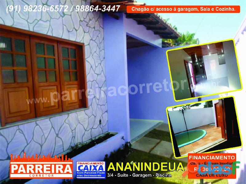 Casa nova ananindeua, 3/4, suíte, sala, cozinha, garagem, piscina e quintal