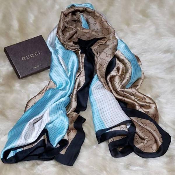 echarpe gucci bege com azul 100% seda