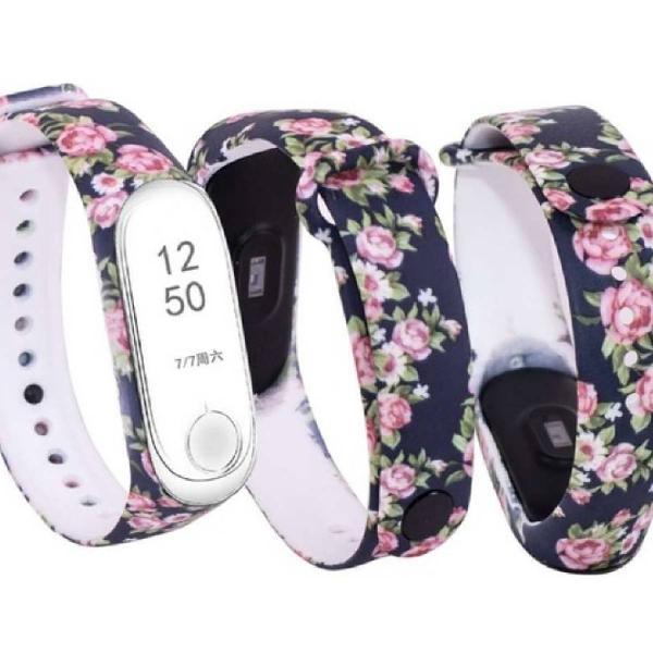 pulseira de silicone floral azul para xiaomi mi band 3