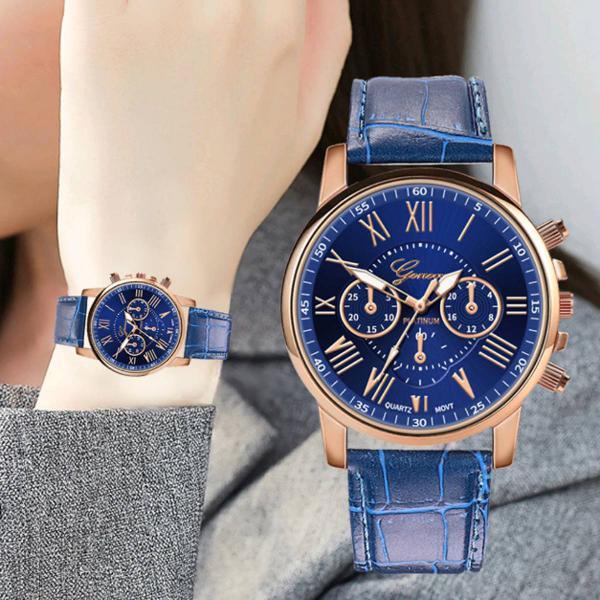 relógio couro azul feminino geneva
