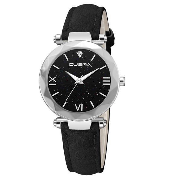 Relógio couro preto e cinza feminino em couro