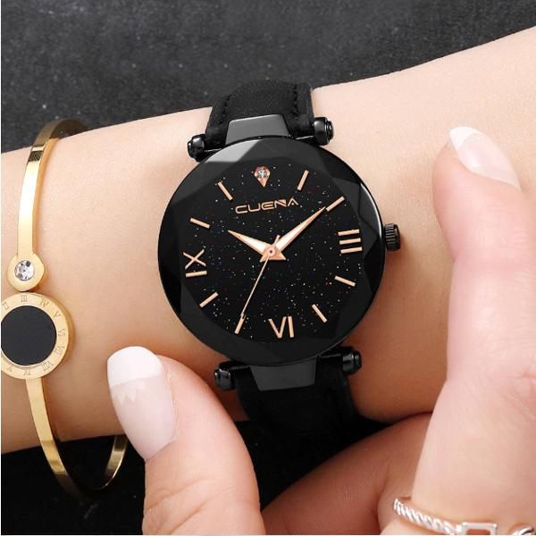 Relógio couro preto feminino em couro