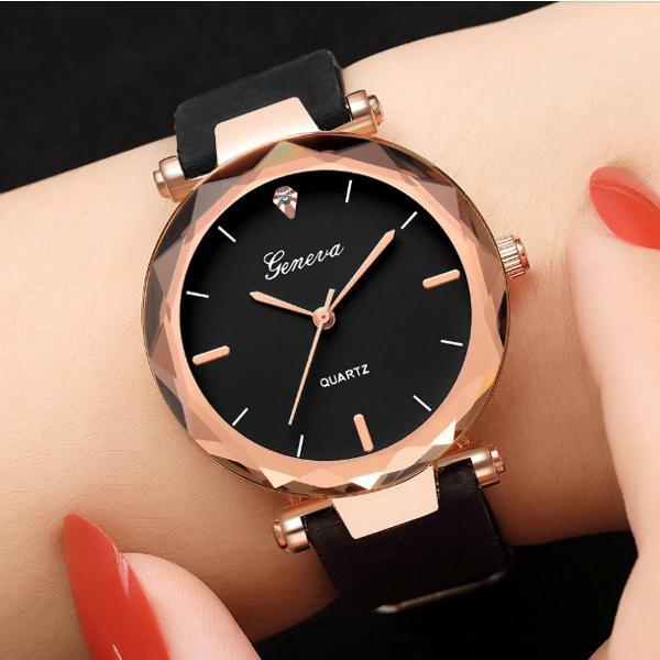 Relógio couro preto feminino geneva
