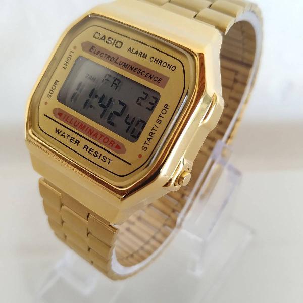 Relógio feminino aço casio dourado inoxidável