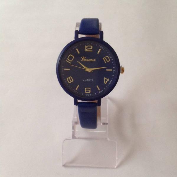 Relógio feminino redondo azul