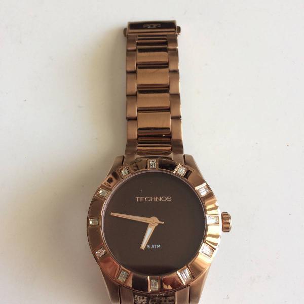 Relógio feminino technos analógico fashion swarovski