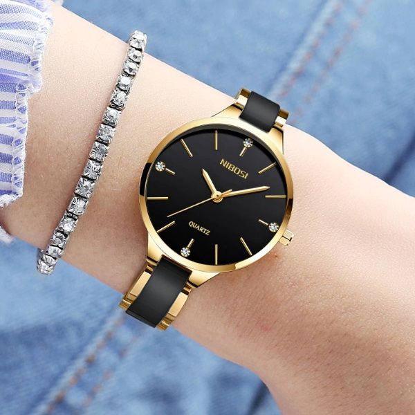 Relógio nibosi quartzo feminino luxo criativa moderna preto