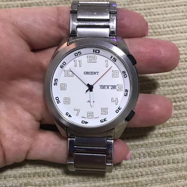 Relógio original prata marca orient. analógico.