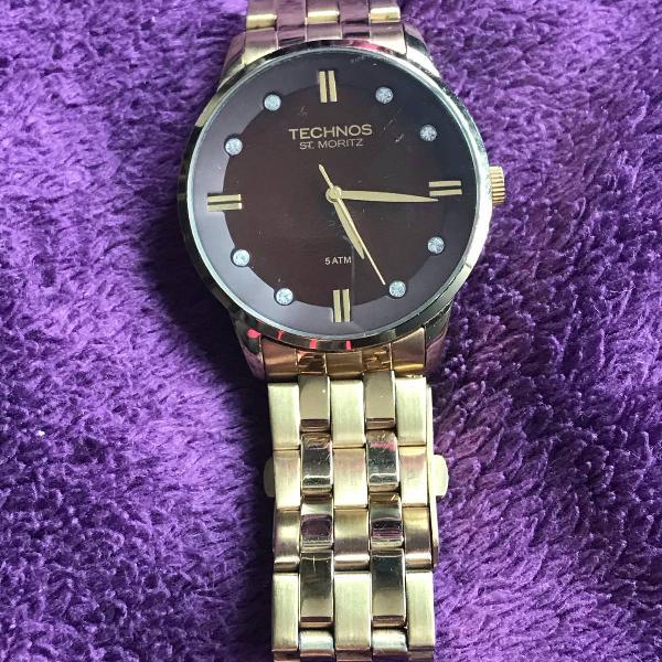 Relógio technos dourado e marrom
