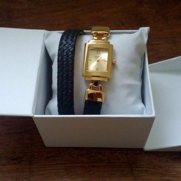 Relogio pulseira de couro preto e dourado euro