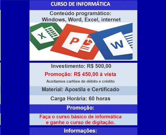 Curso de informática - windows, word, excel, internet +
