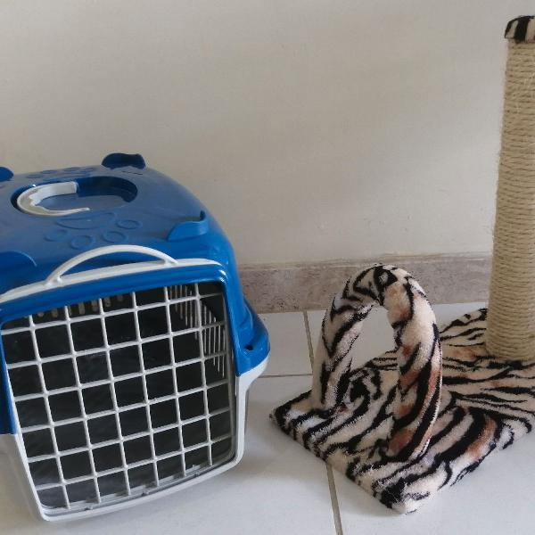 Kit arranhador e caixa transportadora n1 gato