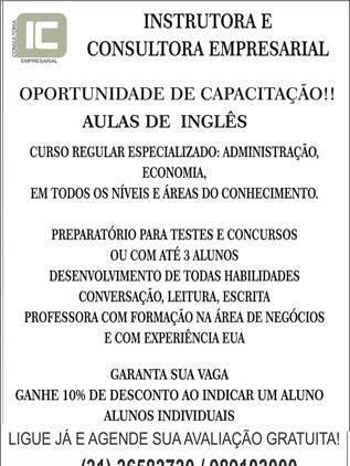 Oportunidade de capacitação!! aulas de inglês