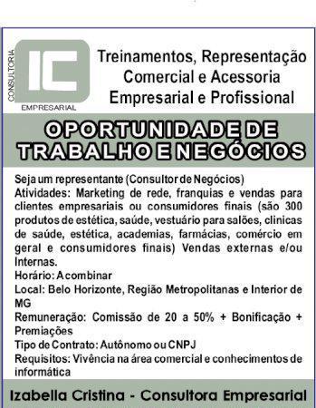 OPORTUNIDADE DE TRABALHO E NEGÓCIOS! TREINAMENTOS,