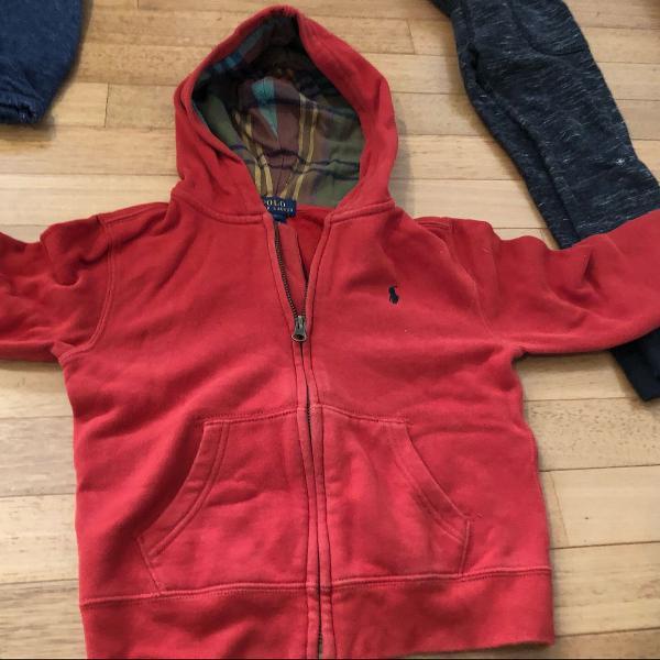 Blusa casaco moletom polo ralph lauren 5 anos vermelha