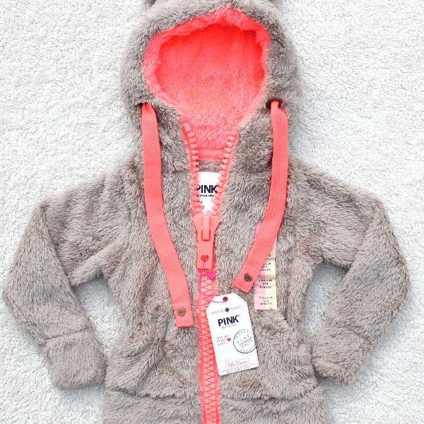 Blusa infantil casaco pelinho zíper capuz orelhinhas