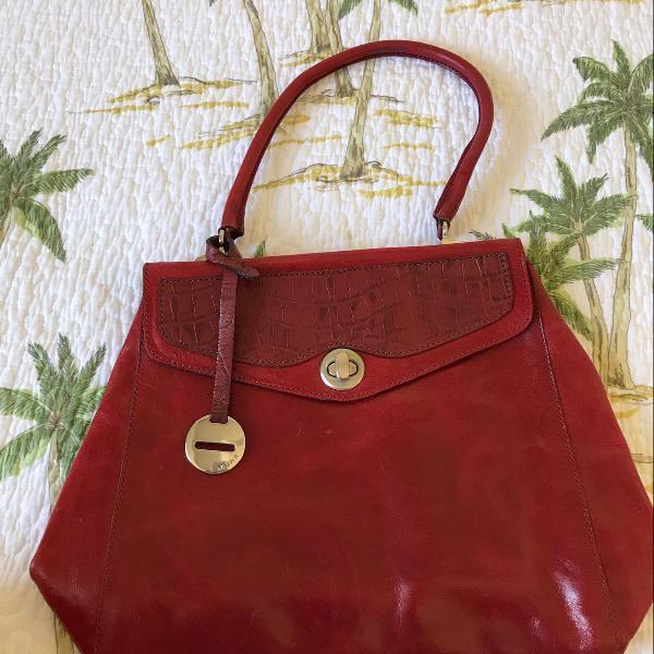 Bolsa em couro, vermelha, tam médio, nativa